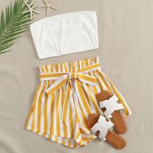 Strick Bandeau Top & Shorts mit Papiertasche Taille und Streifen