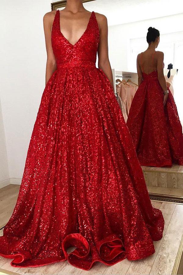 Hot Ruby rueckenfrei Shining Sequin V-Ausschnitt Ballkleid Abendkleider Online