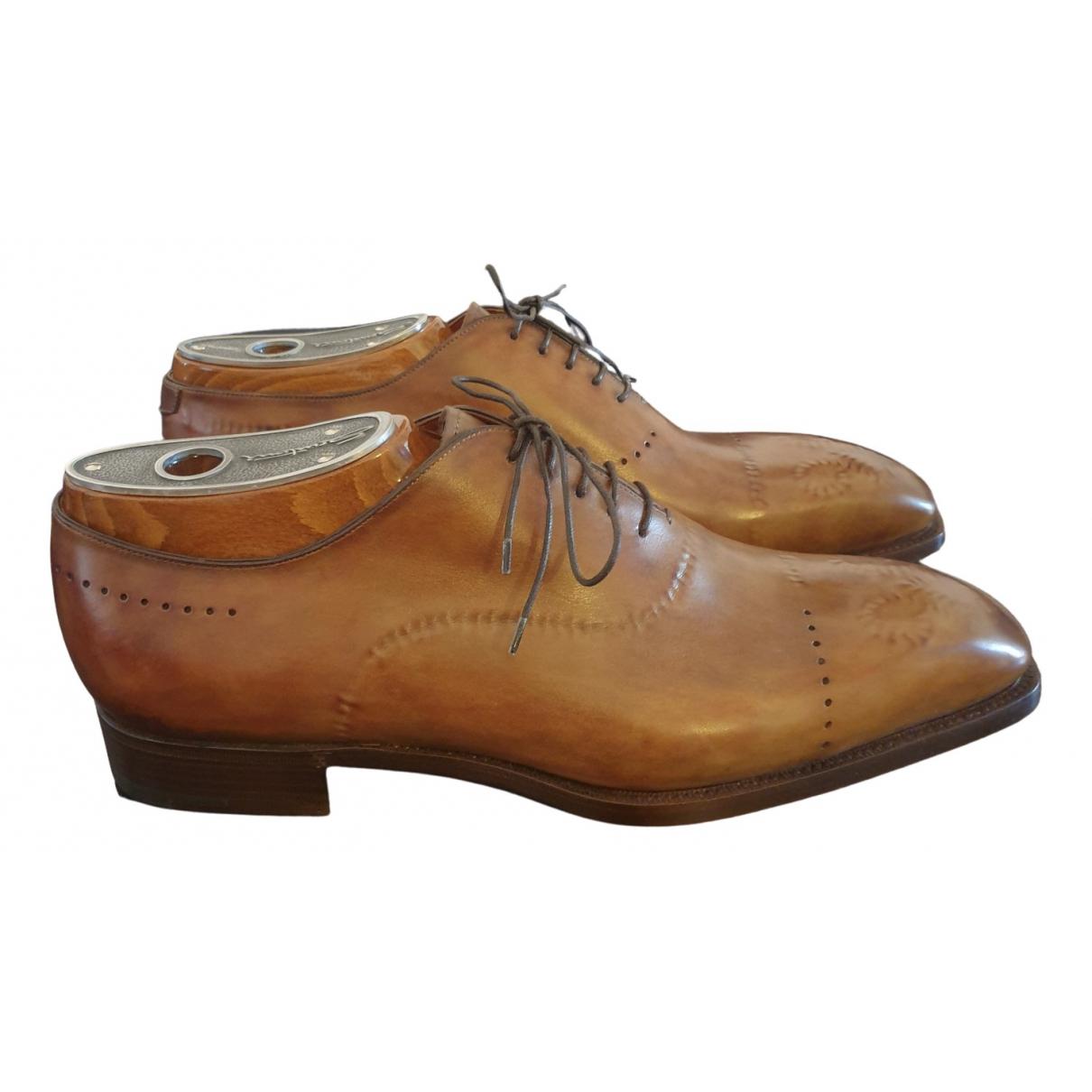 Santoni - Derbies   pour homme en cuir - marron