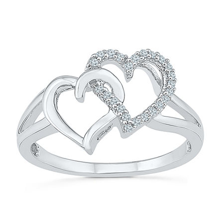 Womens 1/10 CT. T.W. Genuine White Diamond Sterling Silver Heart Cocktail Ring, 6 1/2 , No Color Family