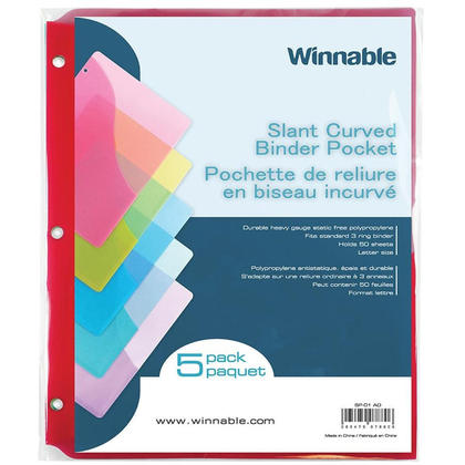 Winnable polypropylene inclinaison statique liant sans poche de taille lettre, paquet de 5