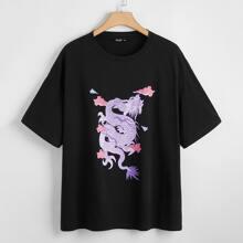 Camiseta de hombros caidos con dragon chino