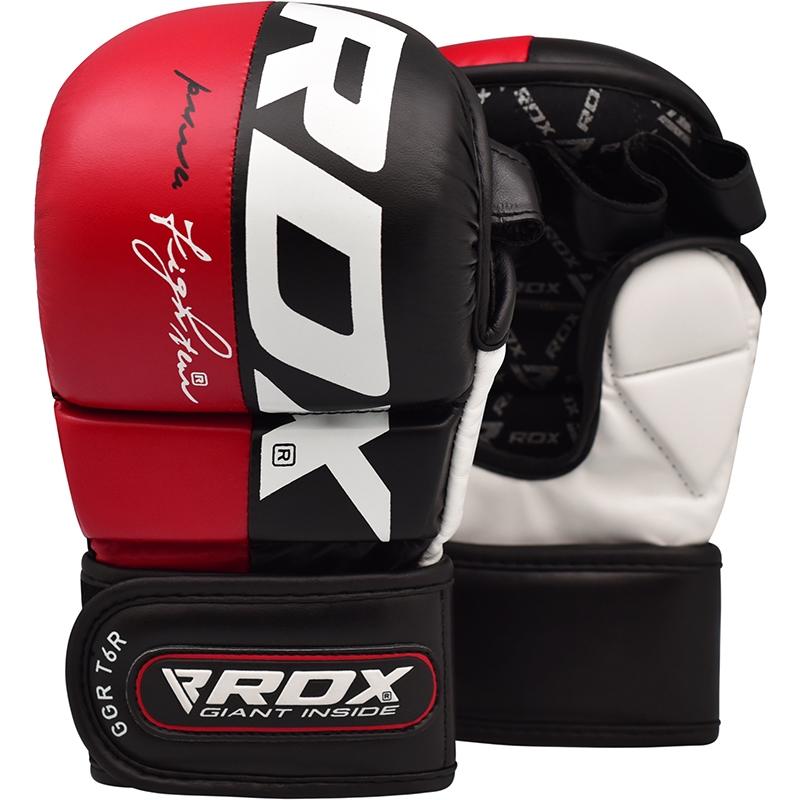 RDX T6 Entrainement MMA Gants de Grappling Grande  Rouge Cuir PU