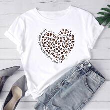 T-Shirt mit Herzen und Buchstaben Grafik