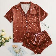 Satin Schlafanzug Set mit Herzen Muster, Reverskragen und Knopfen vorn