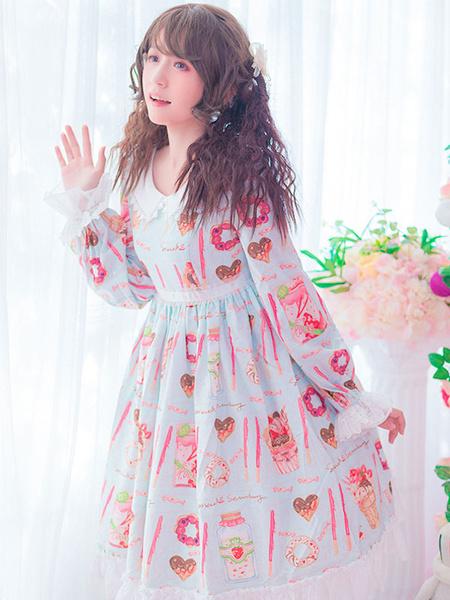 Milanoo Sweet Lolita OP Dress Pudding Cat Print Bow Ruffle Lolita One Piece Dress