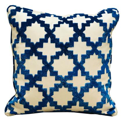 Velvety French Medallion Collection PBRA2332-1818-DP Double sided  18 x 18 Plutus Velvety French Medallion Blue and Off White Geometric Luxury