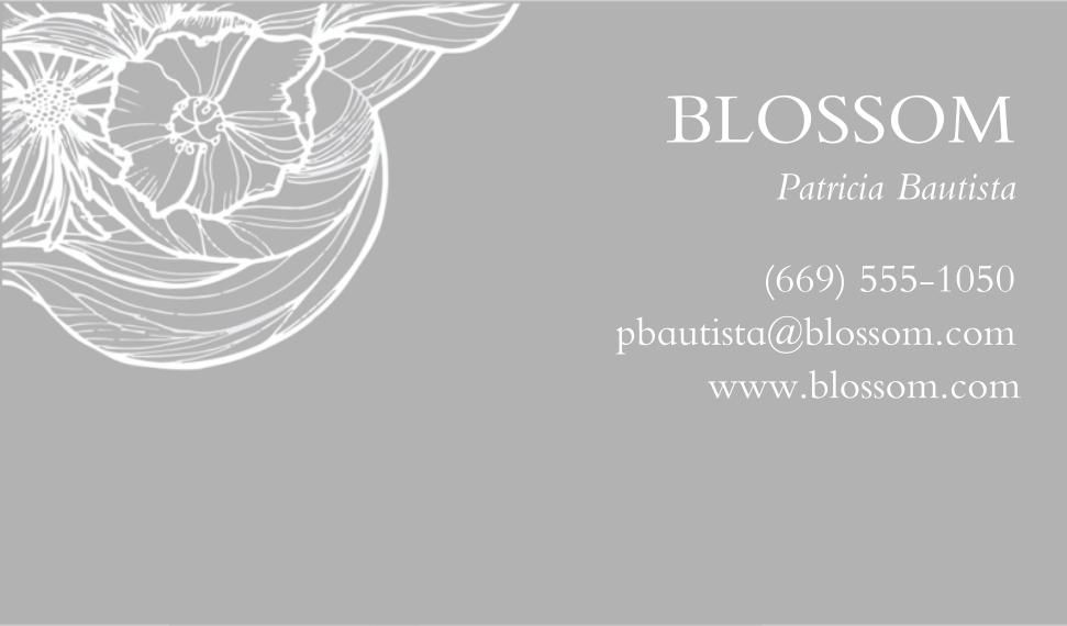 Floral Business Cards, Set of 40, Silk, Card & Stationery -Flower Illustration