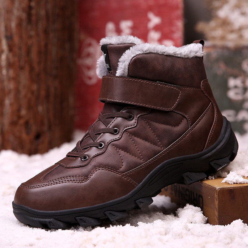 Men Outdoor Non Slip Warm Lining Lace Up Leather Hiking Boots