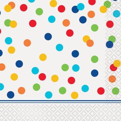 Rainbow Polka Dots Beverage Napkins, 16ct For Birthday Party