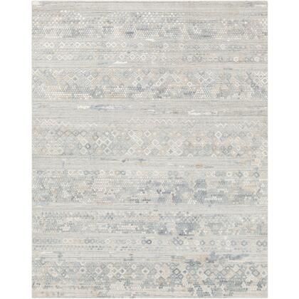 Makalu MKL-2303 4' x 6' Rectangle Global Rug in Pale Blue  Medium Gray  Sage  Light Gray