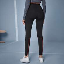 Zipper Detail High Waist Leggings