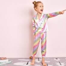 Toddler Girls Colorful Ombre Satin PJ Set