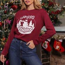 Camiseta bajo curvo con estampado de Navidad