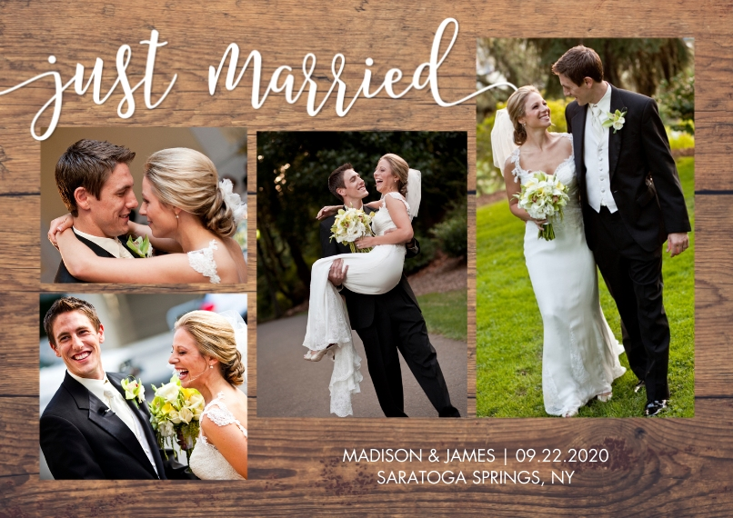 Just Married Flat Glossy Photo Paper Cards with Envelopes, 5x7, Card & Stationery -Just Married Rustic