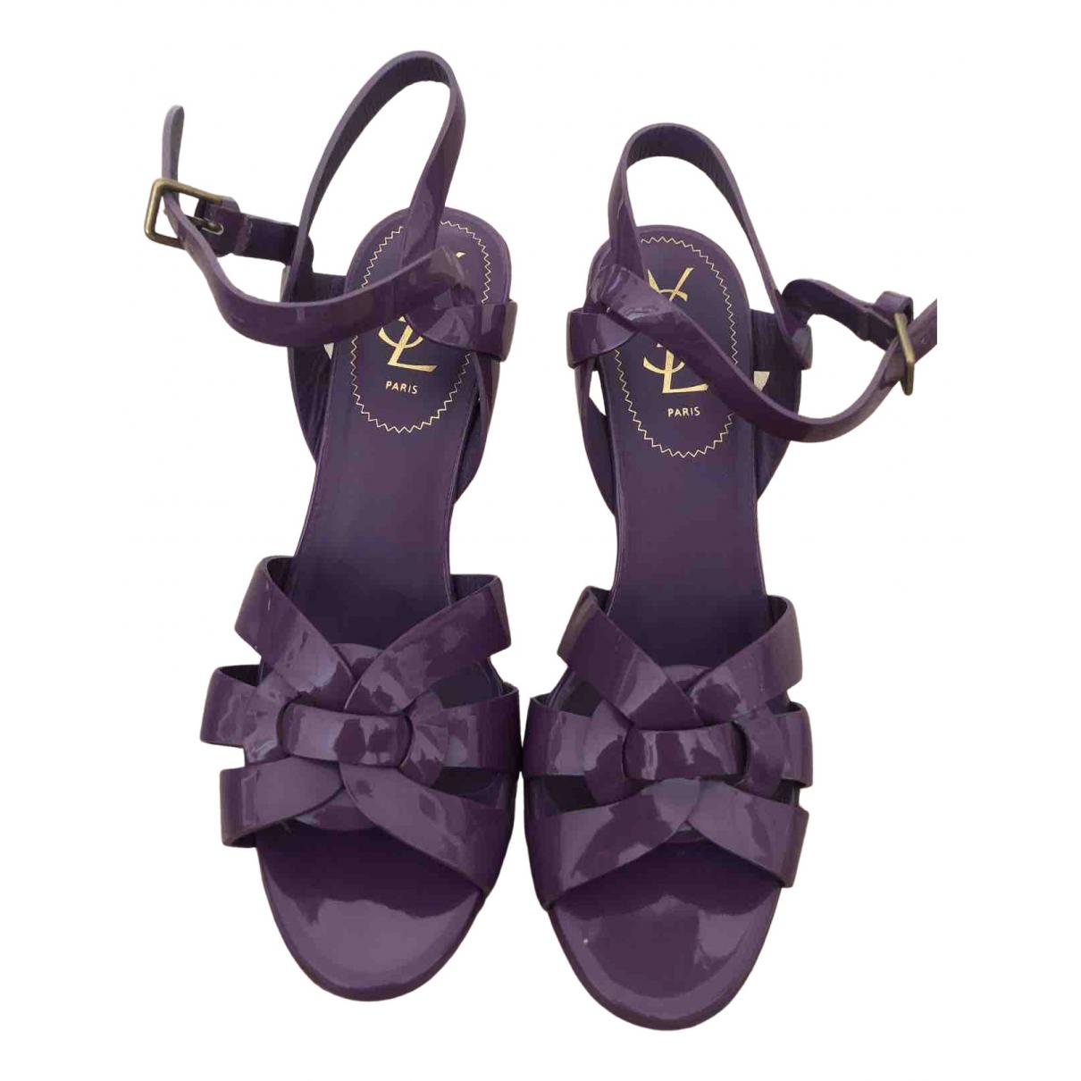Yves Saint Laurent Tribute Purple Patent leather Sandals for Women 38 EU