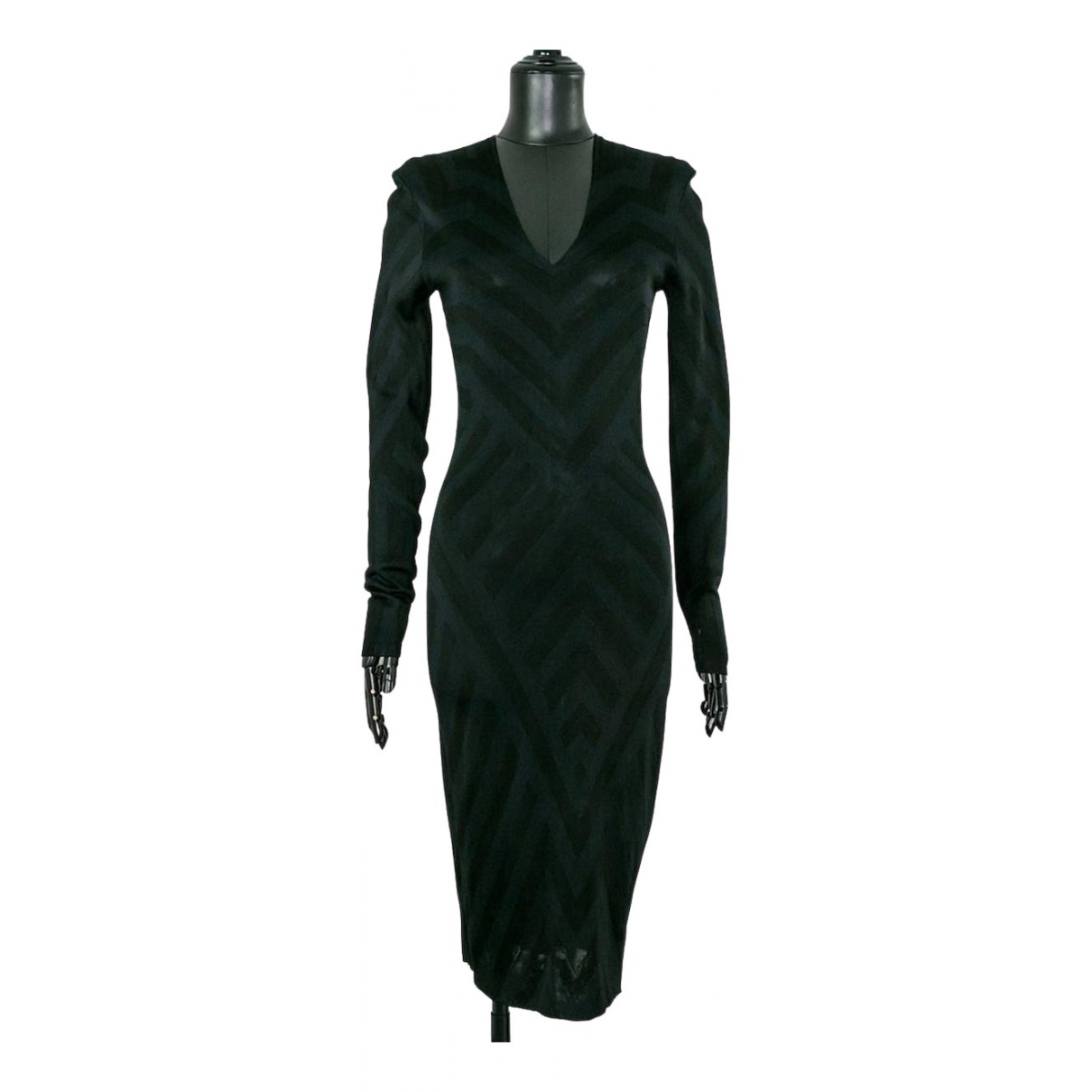 Alexander Mcqueen \N Kleid in  Schwarz Baumwolle - Elasthan