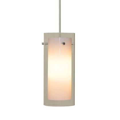 PC670-90-15 Tubolaire 12V Pendant White Opal Inner W/Clear Outer Glass / Chrome