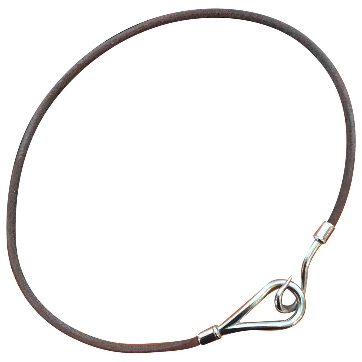 Hermes - Collier Jumbo pour femme en argent - marron