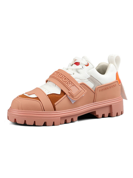 Milanoo Men\'s Sneakers Ecru White Fashion PU Leather Round Toe Artwork Sports Shoes