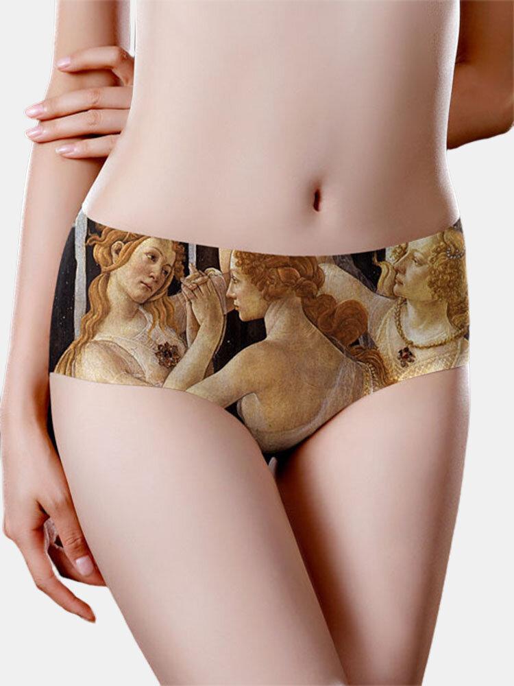 Women Vintage Painting Print Seamless Ice Silk Breathable Panties