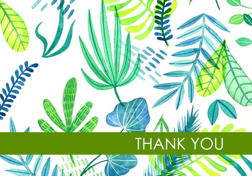 Thank You Cards 3.5x5 Folded Notecard, Card & Stationery -Botanical Thank You