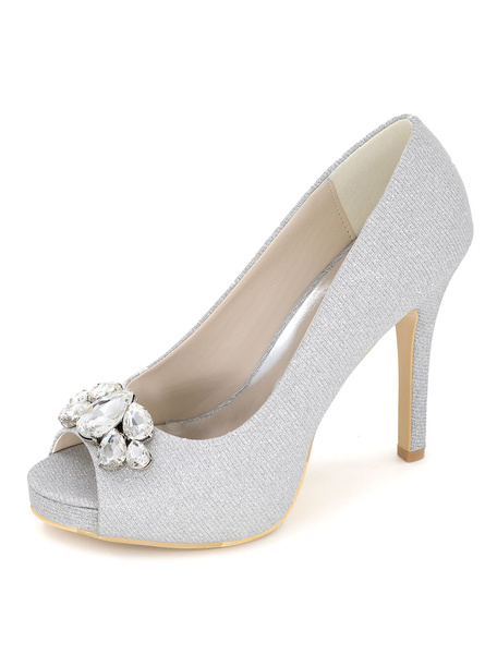 Milanoo Blue Peep Toe Wedding Shoes Glitter Platform Crystal Pumps Women's Stiletto Heel Bridal Shoes