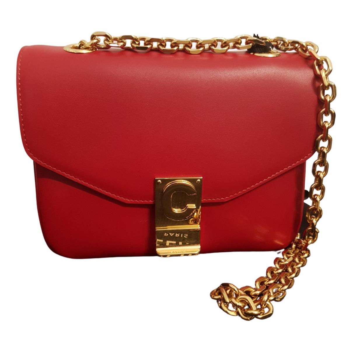 Celine - Sac a main C bag pour femme en cuir - rouge