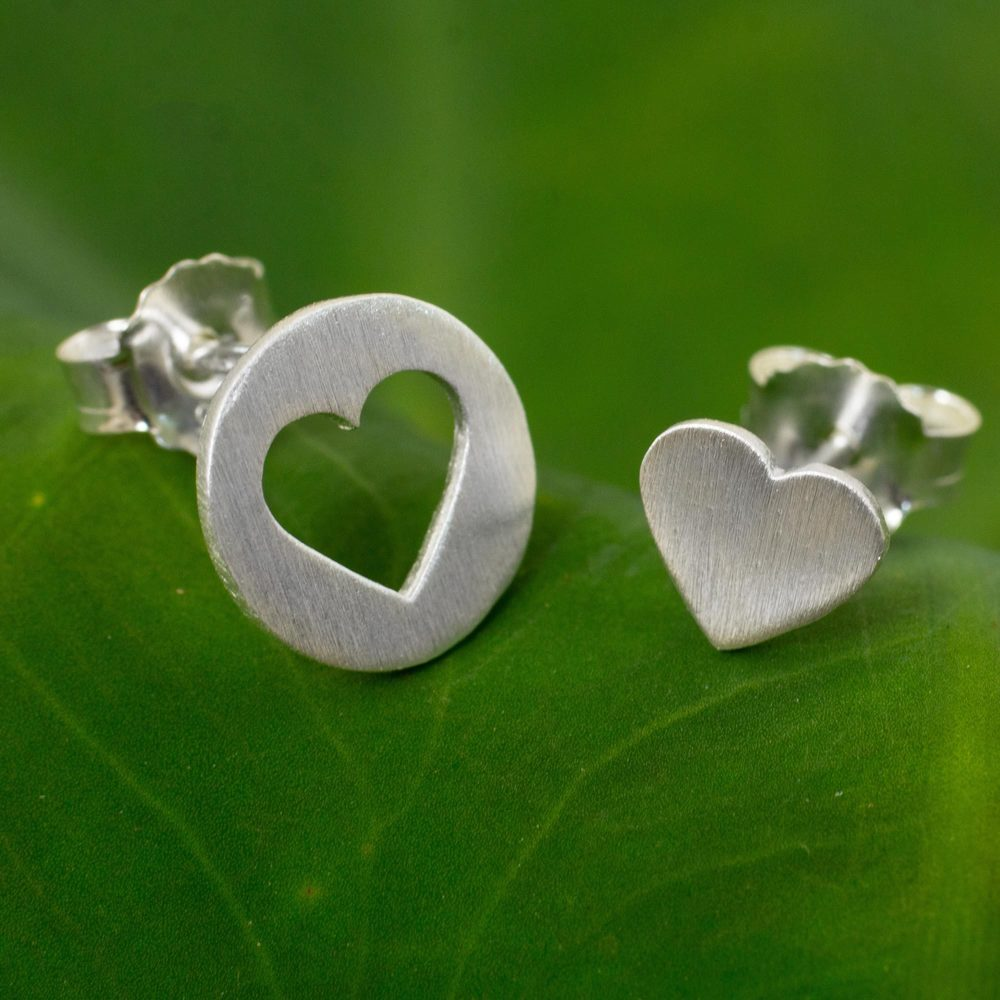 Handmade Sterling Silver 'Heart in the Moon' Earrings (Thailand) (Solid)