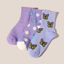 3 Paare Socken mit Blumen Muster
