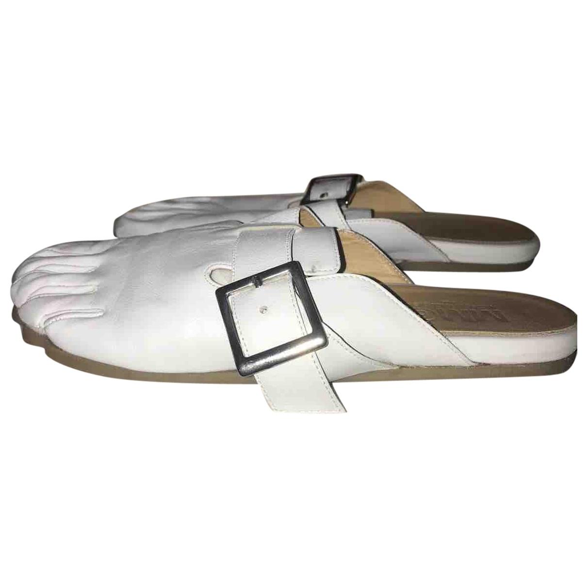 Mm6 - Sandales   pour femme en cuir - blanc