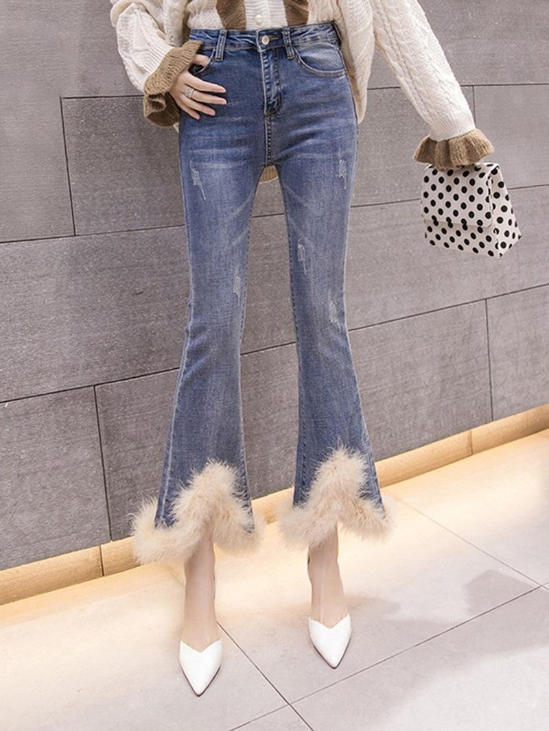 Ericdress Bellbottoms Patchwork Color Block High Waist Loose Jeans