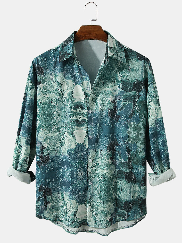 Mens Allover Abstract Print Casual Loose Long Sleeve Shirts In Green
