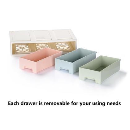 Organisateur de rangement de bureau pastel, 320*192*70mm, empilable et amovible - 3 tiroirs