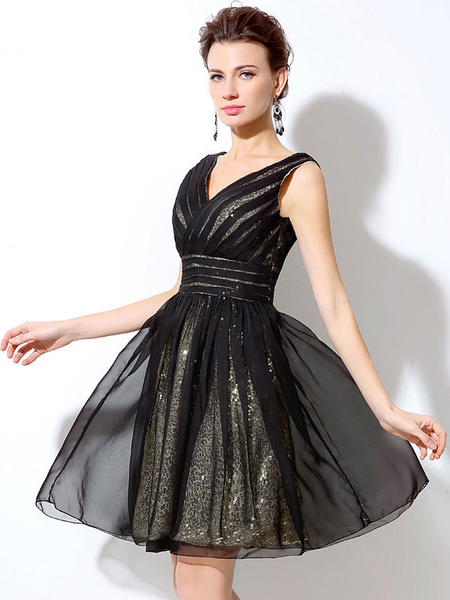 Milanoo Vestido de coctel negro con cuello en V sin mangas con pliegues