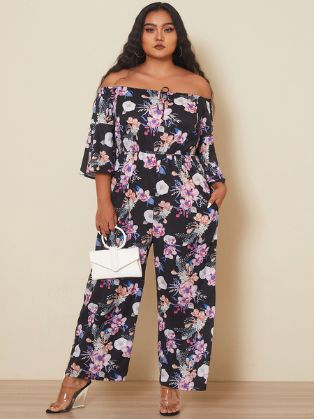 YOINS Plus Size Off The Shoulder Floral Print Side Pockets 3/4 Length Sleeves Jumpsuit