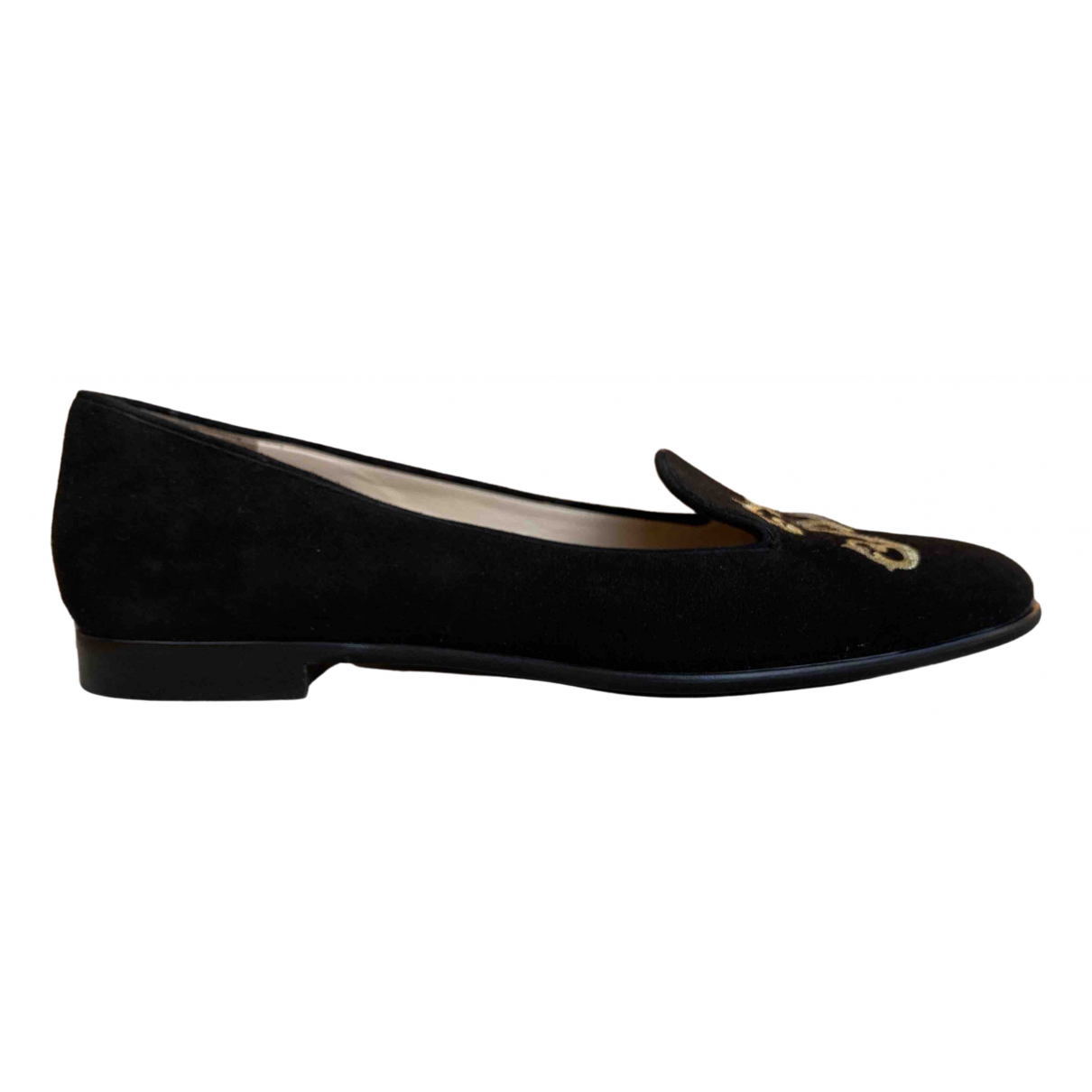 Moschino \N Black Suede Flats for Women 39.5 IT