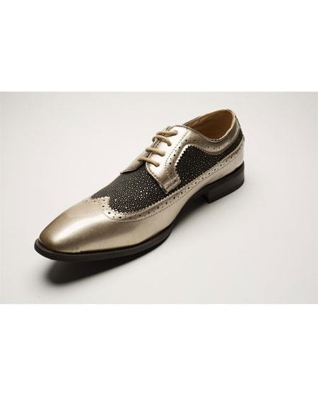 Men's Two Toned Wingtip Lace Up Style Black ~ Brown Dress Shoes