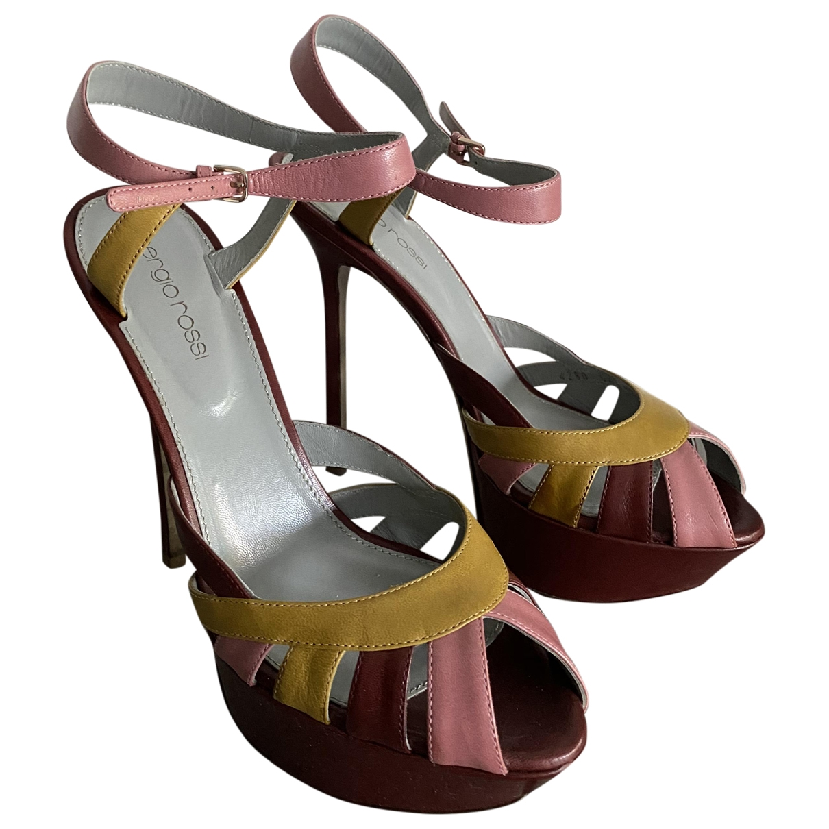 Sergio Rossi \N Burgundy Leather Sandals for Women 38.5 EU
