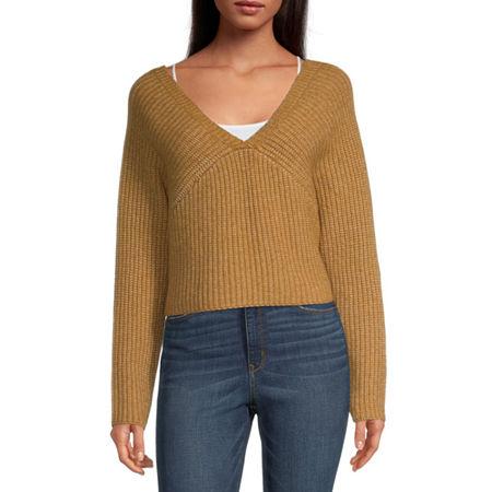 Arizona Juniors Womens Crew Neck Long Sleeve Sweatshirt, Medium , Brown