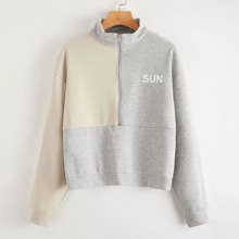 Half Zip Letter Graphic Colorblock Sweatshirt