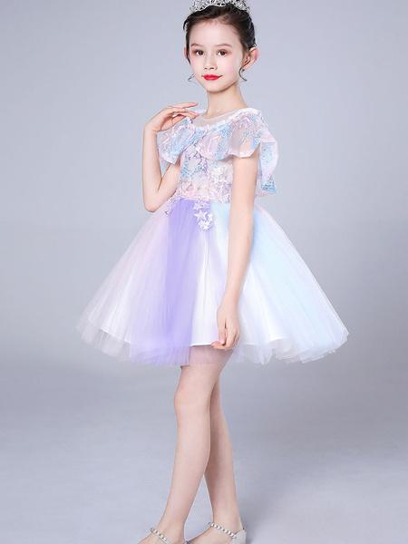 Milanoo Flower Girl Dresses Designed Neckline Sleeveless Kids Social Party Dresses