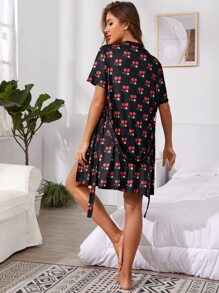 Allover Cherry Print Belted Robe