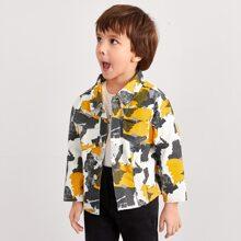 Jacke mit Camo Muster und Taschen Klappe