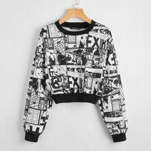 Crop Pullover mit Pop Art Muster
