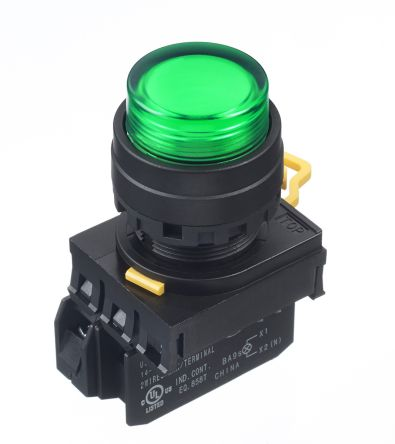 Idec , YW Illuminated Green Extended Push Button Complete Unit, NO, 22mm Maintained Screw