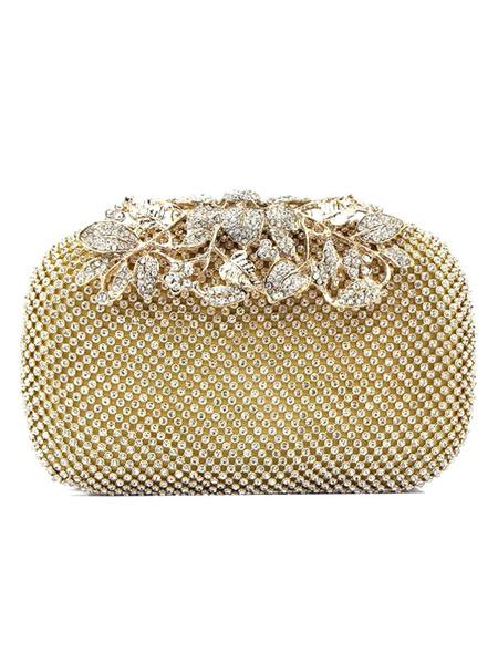 Milanoo Bolso de novia de lujo para fiesta formal con pedreria Cierre de beso Diamante de imitacion