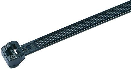 HellermannTyton , T50LOS-HS Series Black Nylon Cable Tie, 150mm x 4.6 mm