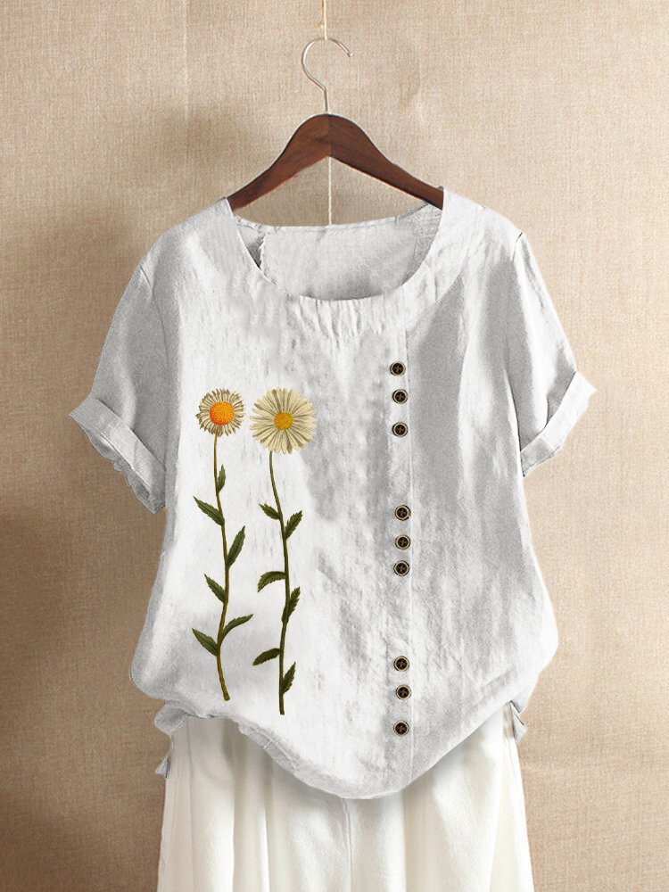 Floral Printed Short Sleeve O-Neck T-shirt For Women