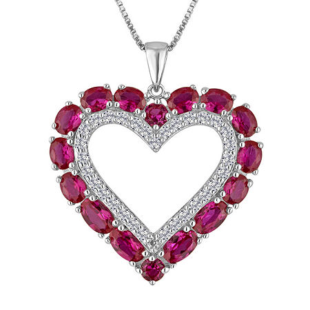 Lab-Created Ruby & White Sapphire Sterling Silver Heart Pendant Necklace, One Size , No Color Family